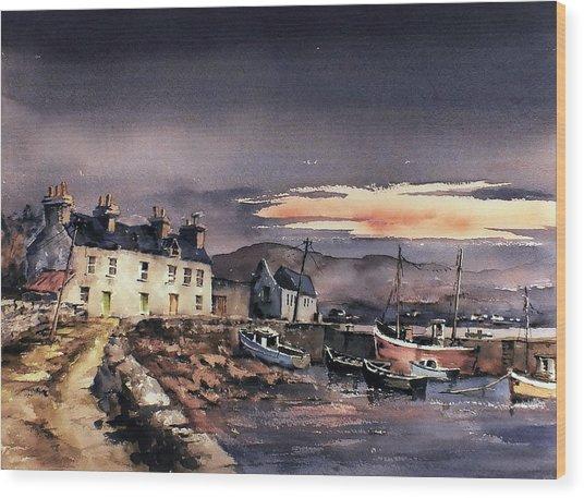 Sunset On Coraun Harbour Mayo Wood Print