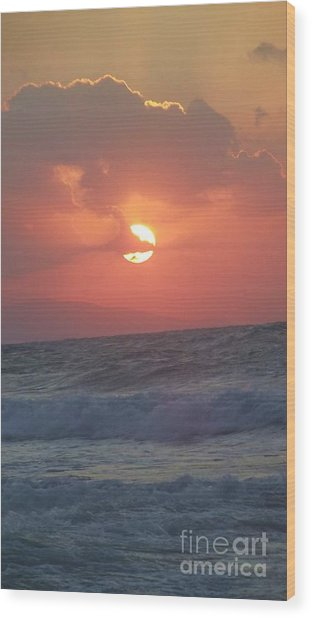 Sunset On Crete Wood Print