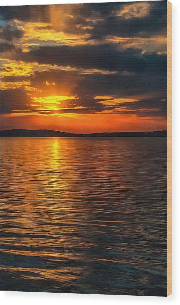 Sunset On Degray Lake Wood Print