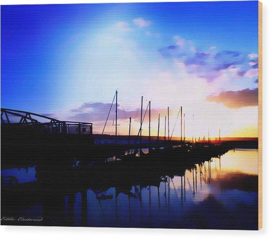 Sunset On Edmonds Washington Boat Marina Wood Print