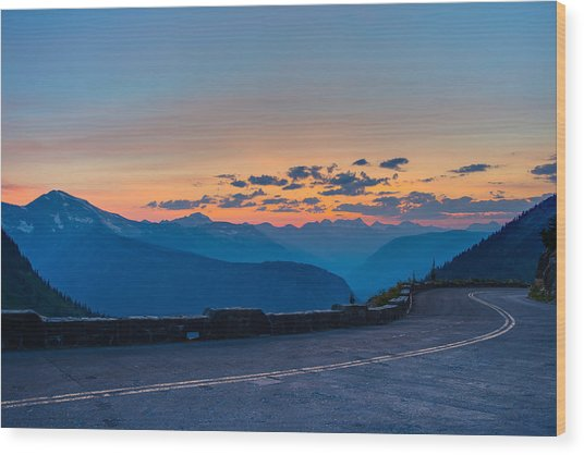Sunset On Going-to-the-sun Road Wood Print