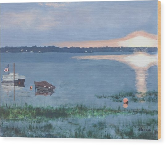 Sunset On Lake Champlain Wood Print