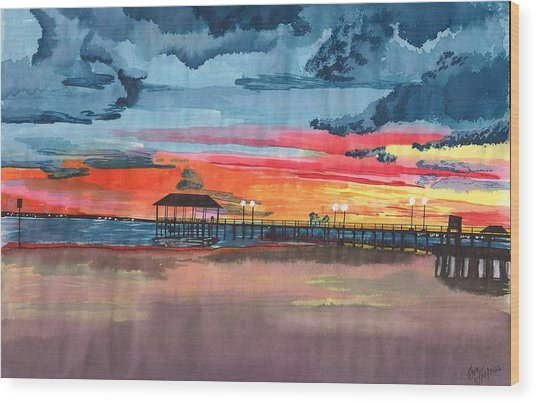 Sunset On Lake Jackson Wood Print