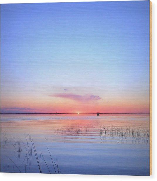 Sunset On Lake Washington Wood Print