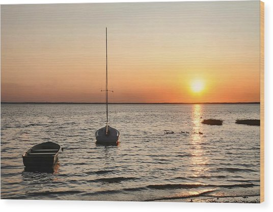 Sunset On Lbi Wood Print