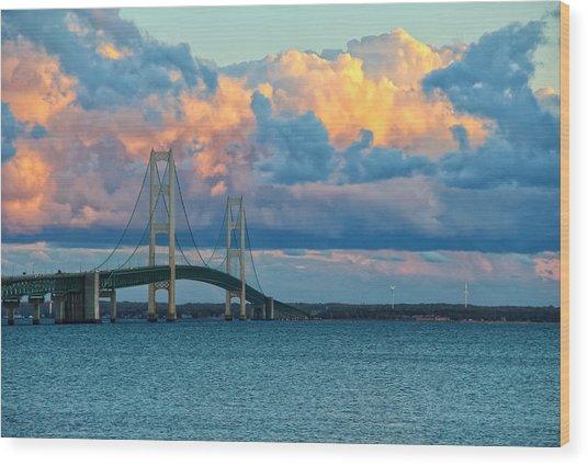 Sunset On Mackinac Bridge Wood Print
