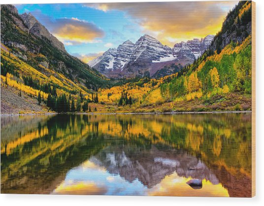 Sunset On Maroon Bells Wood Print