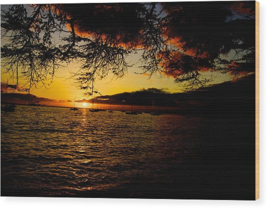 Sunset On Maui Wood Print