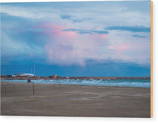 Sunset On Mediterranean Sea Spain Wood Print