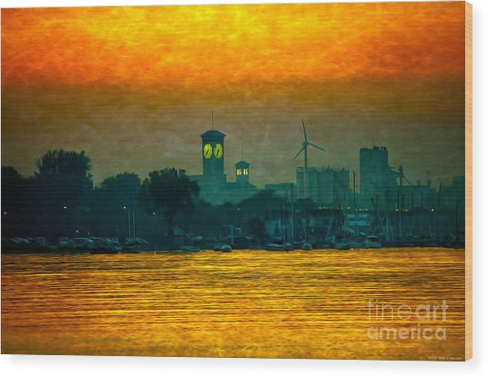 Sunset On Milwaukee's South Side  Wood Print
