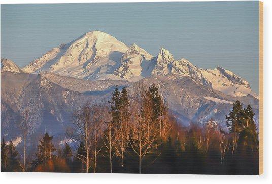 Sunset On Mount Baker Wood Print