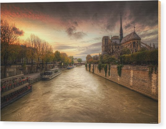 Sunset On Notre Dame Wood Print