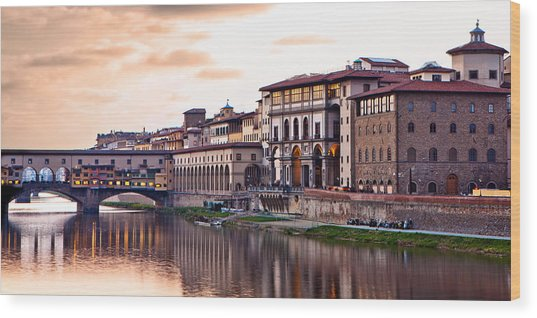 Sunset On Ponte Vecchio In Florence Wood Print