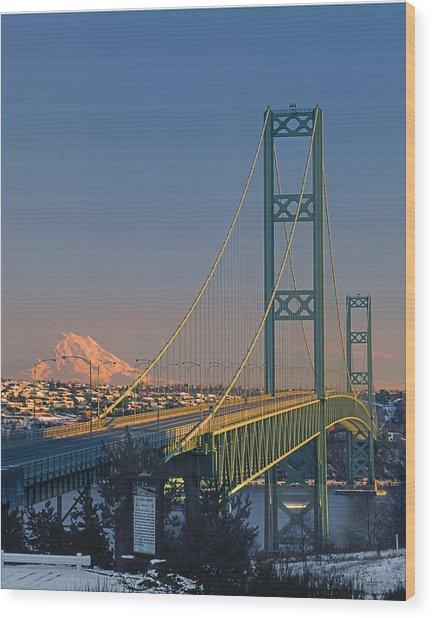 1a4y20-v-sunset On Rainier With The Tacoma Narrows Bridge Wood Print
