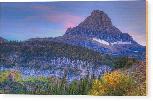 Sunset On Reynolds Mountain Wood Print