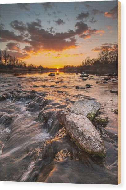 Sunset On River Wood Print