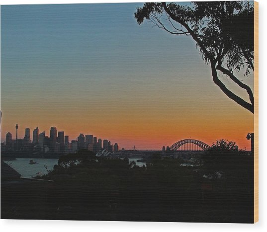 Sunset On Sydney Harbour  Wood Print