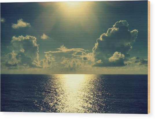 Sunset On The Atlantic Ocean Wood Print