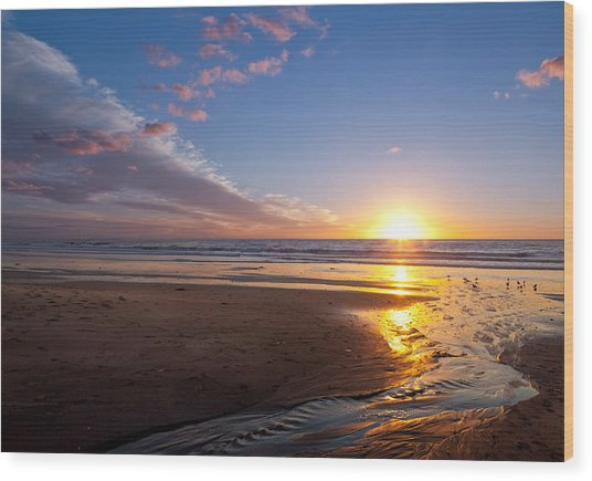 Sunset On The Beach At Carlsbad. Wood Print