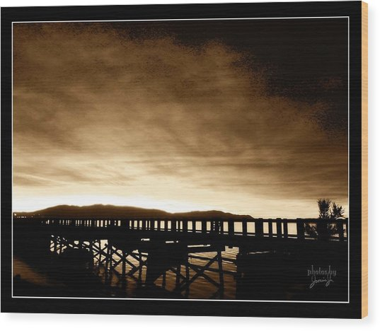 Sunset On The Boardwalk Wood Print