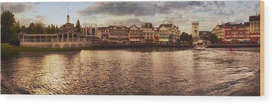 Sunset On The Boardwalk Walt Disney World Wood Print