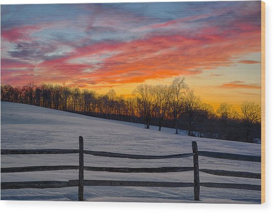 Sunset On The Farm Wood Print