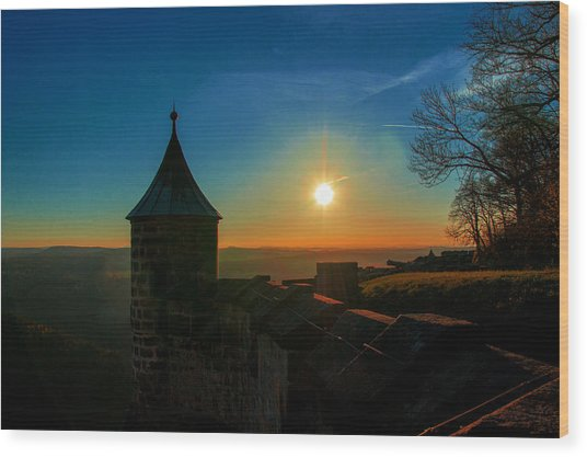 Sunset On The Fortress Koenigstein Wood Print