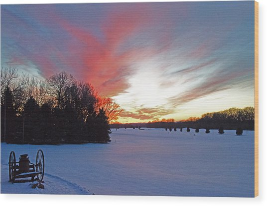 Sunset On The Golf Course Wood Print by Dan  Meylor