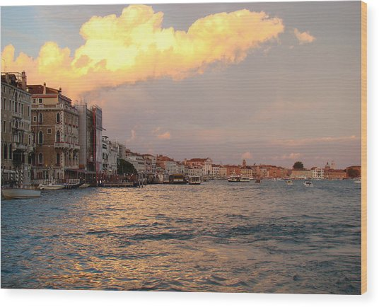 Sunset On The Grand Canal Wood Print