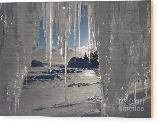 Sunset On The Icicles Wood Print