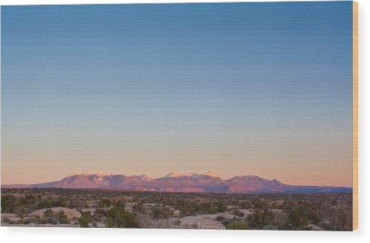 Sunset On The La Sal Mountains Wood Print