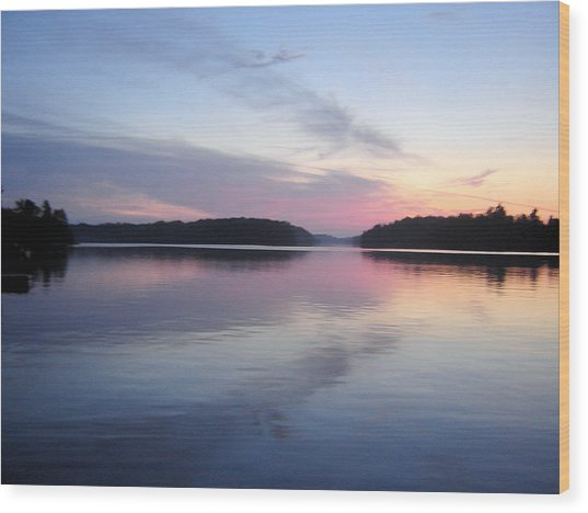 Sunset On The Lake 2 Wood Print by Gaetano Salerno