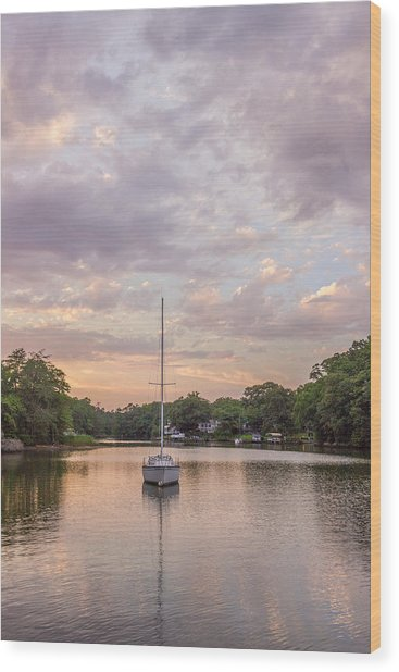 Sunset On The Magothy River Wood Print