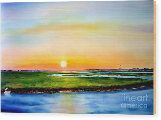 Sunset On The Marsh Wood Print