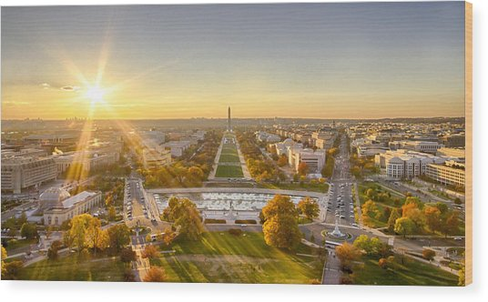 Sunset On The National Mall Wood Print