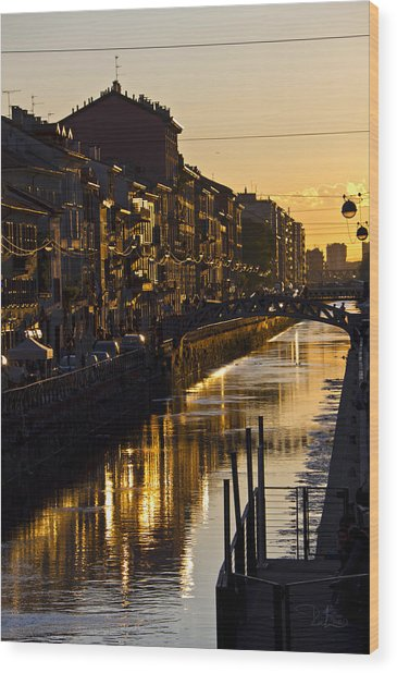 Sunset On The Navigli In Milan Wood Print