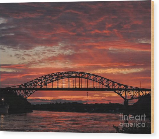 Sunset On The Piscataqua         Wood Print