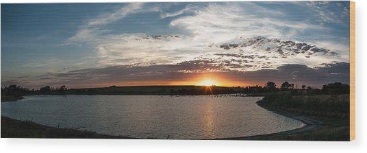 Sunset On The Pond Wood Print