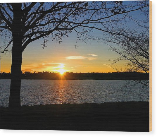 Sunset On The Potomac Wood Print