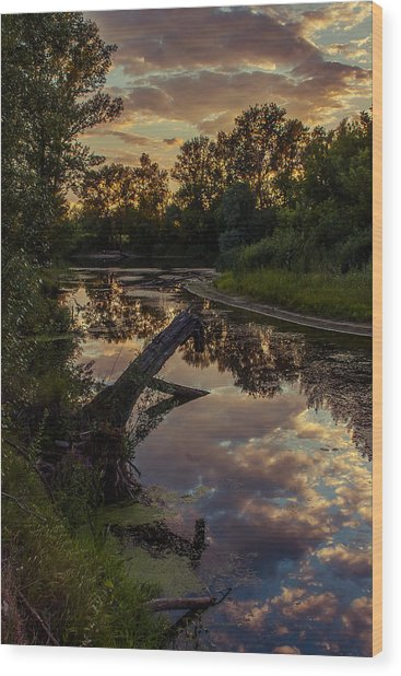 Sunset On The Quiet River Wood Print