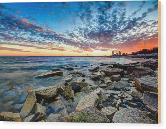 Sunset On The Rocks Wood Print by Anna-Lee Cappaert