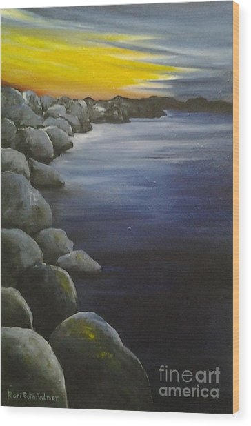 Sunset On The Rocks  Wood Print by Roni Ruth Palmer