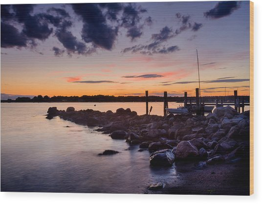 Sunset On The Rocks - Stonington Point Wood Print