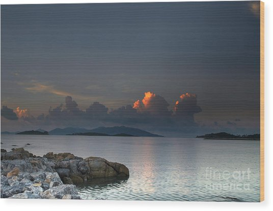 Sunset On The Sea Wood Print