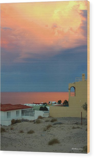 Sunset On The Sea Of Cortez Wood Print