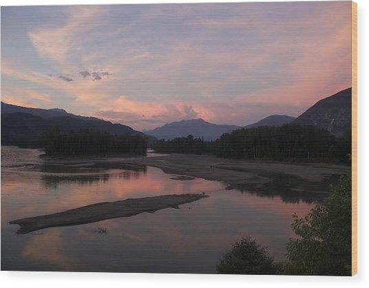 Sunset On The Skeena Wood Print