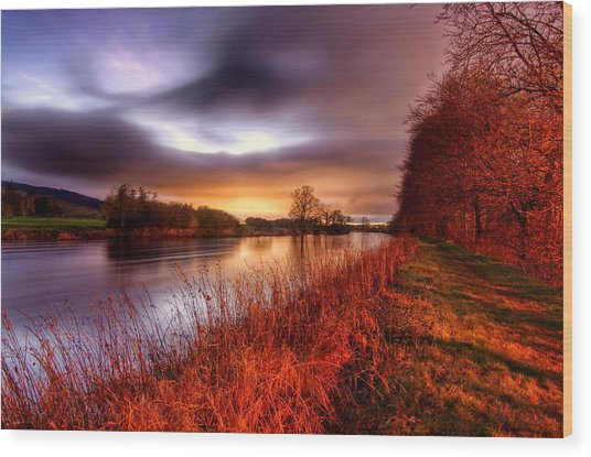 Sunset On The Suir Wood Print
