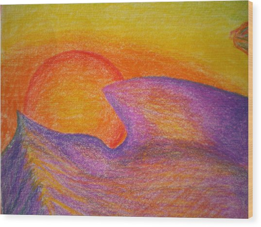 Sunset On Wavy Mountains Detail Of Sun Wood Print