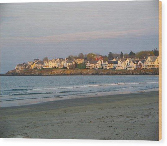 Sunset On York Beach Wood Print