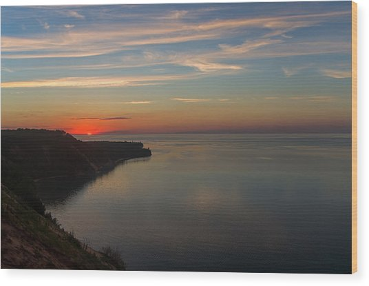 Sunset Over Ausable Point. Wood Print